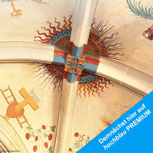 Teil 1 Start unserer Serie und Station im Kloster Bebenhausen in Baden-Württemberg. Deckenfresko im Kloster Bebenhausen bei Tübingen. | Foto: Hans-Jörg Ernst